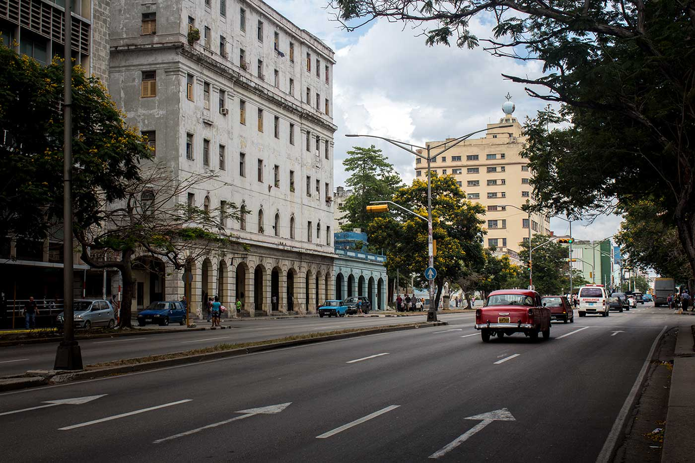 The 11-storey Grand Lodge of Cuba towers over Avenida Salvador Allende in Havana.