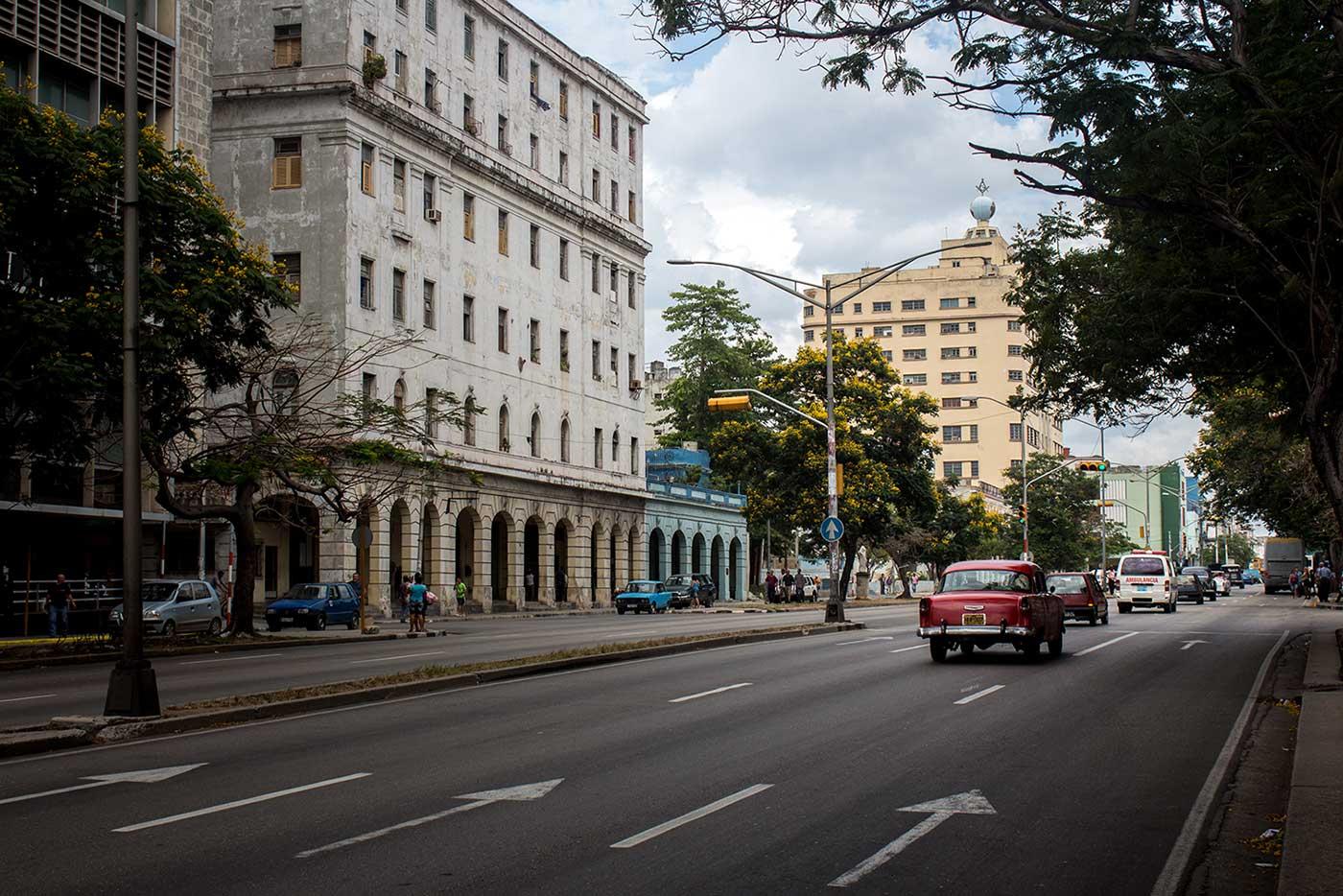 The 11-storey Grand Lodge of Cuba towers over Avenida Salvador Allende in Havana.