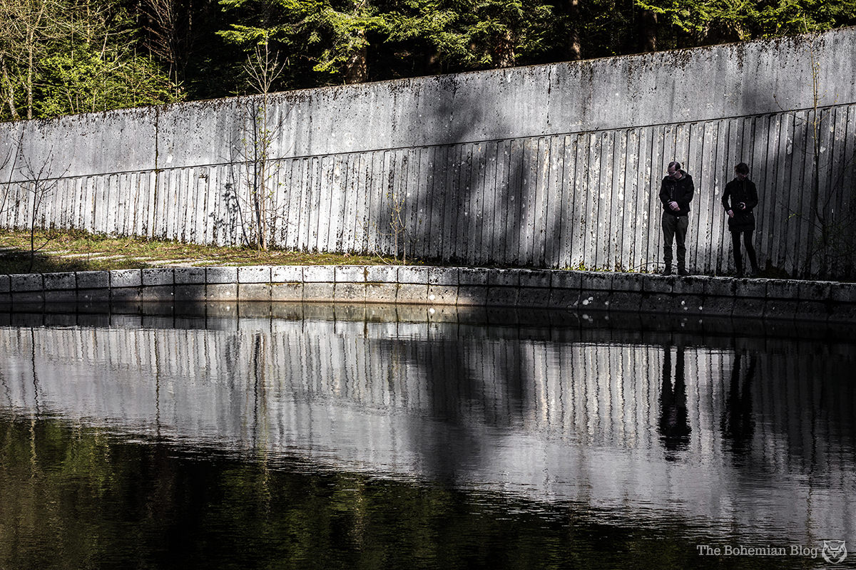 Tom and Rachel contemplate the murky waters of the Korčanica Memorial Park.