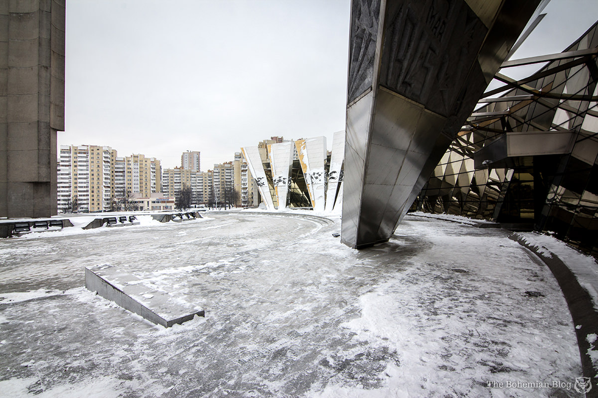 The icy plaza overlooking the Great Patriotic War Museum in Minsk, Belarus.