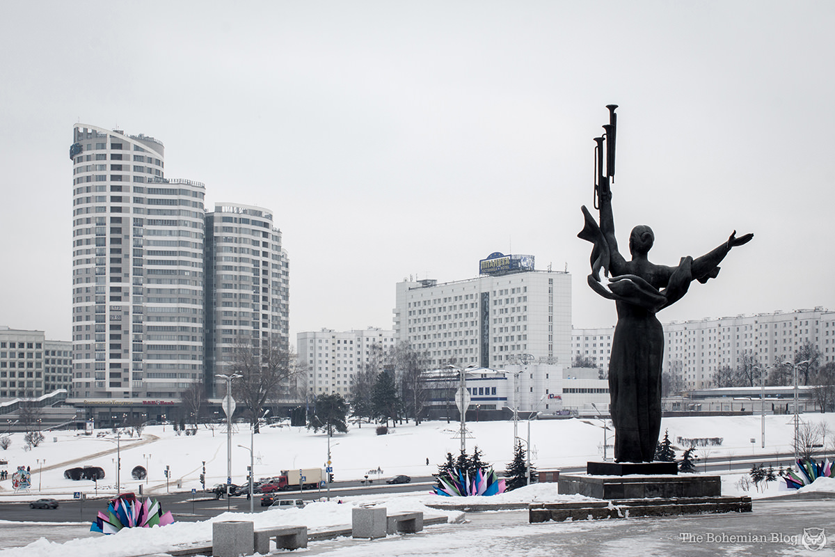 A Soviet-era monument watches over the frozen Belarusian capital.