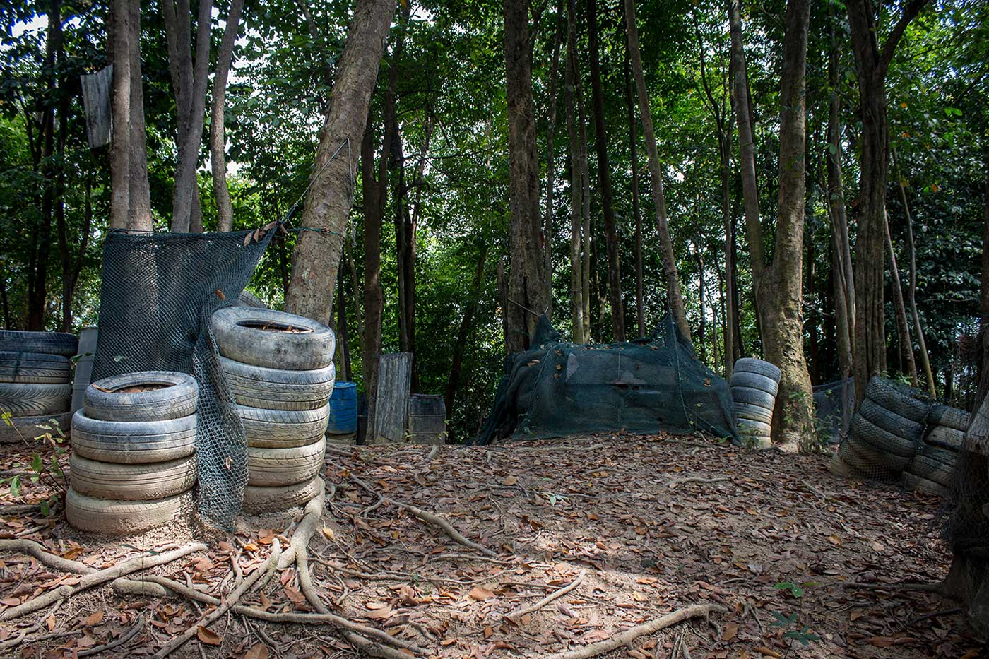 Paintball arena at the Penang War Museum, Malaysia.