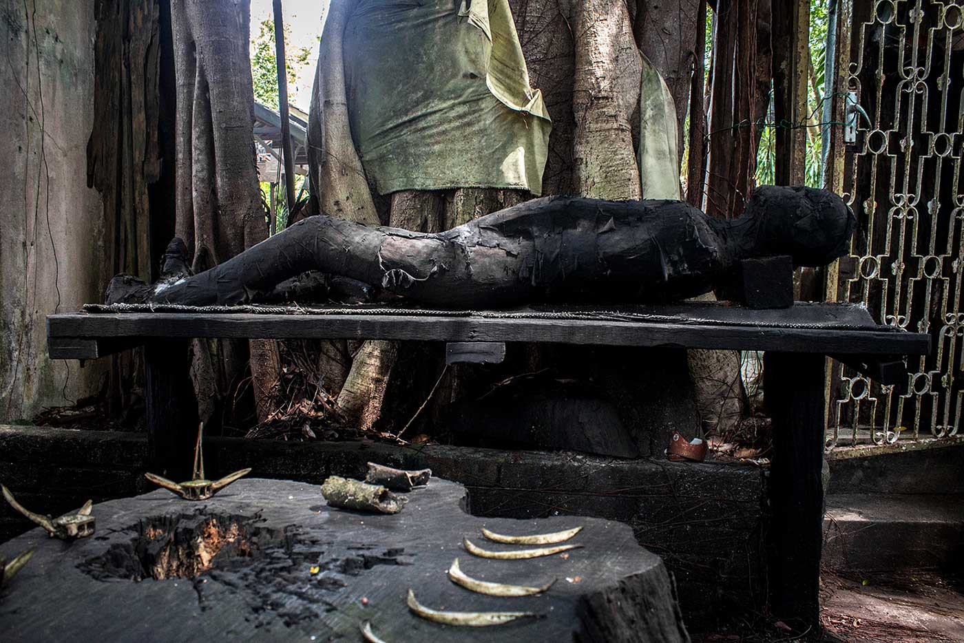 A model of a charred corpse illustrates one exhibit detailing the Japanese Occupation of Penang.