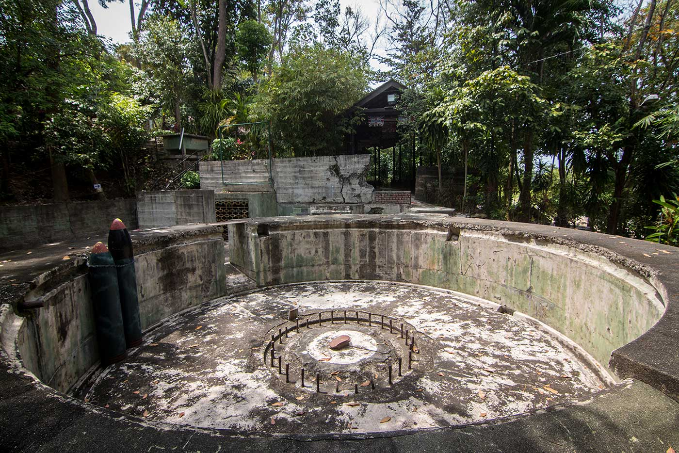 The remains of a six-inch gun battery on Penang Island, Malaysia.
