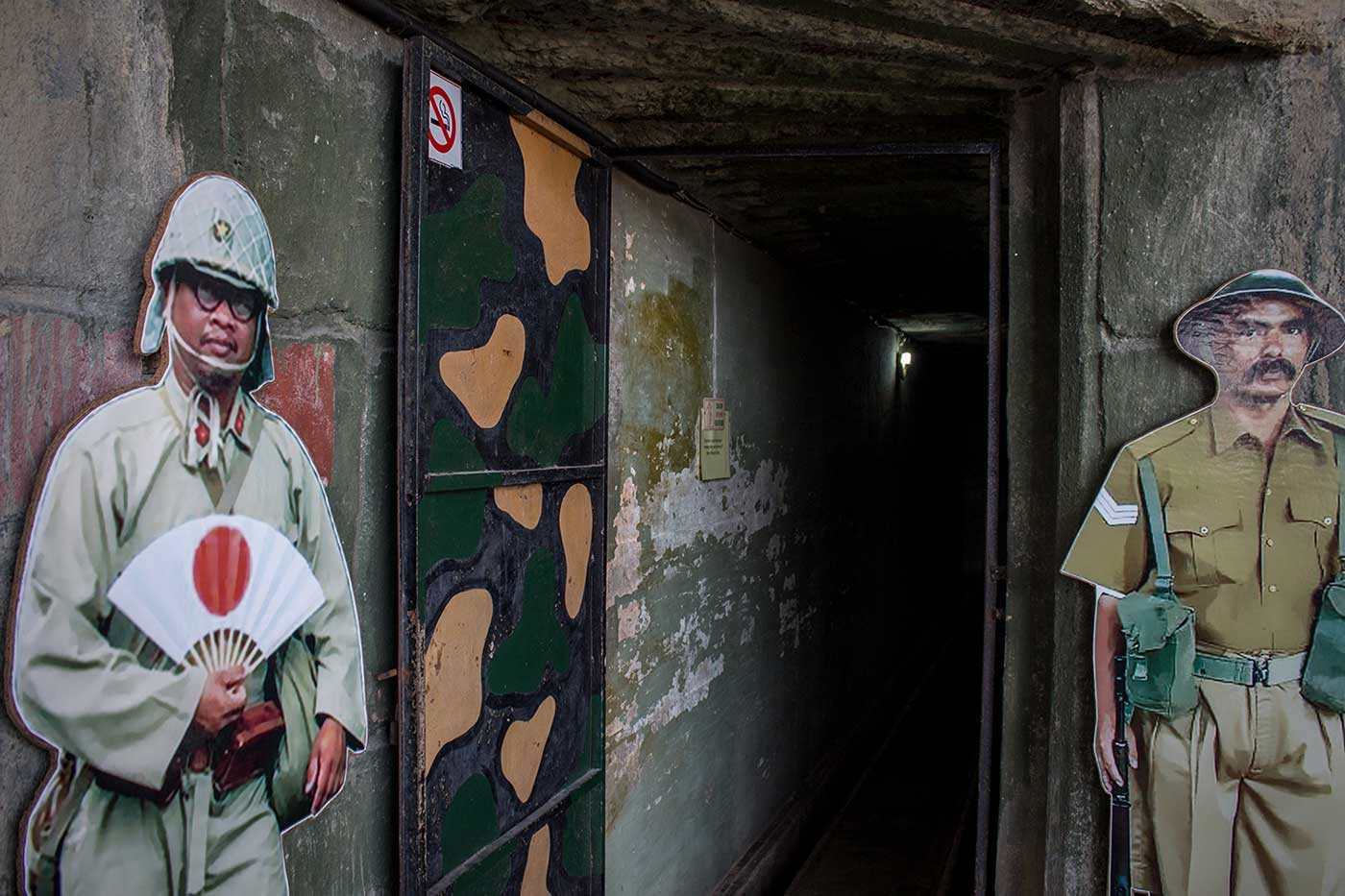 Entrance to the British Army's underground command centre. Penang War Museum, Malaysia.