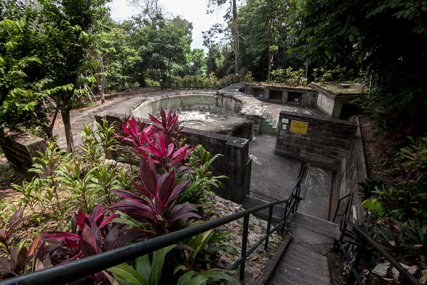 An empty gun battery, and its former munitions depot. Penang War Museum, Malaysia.