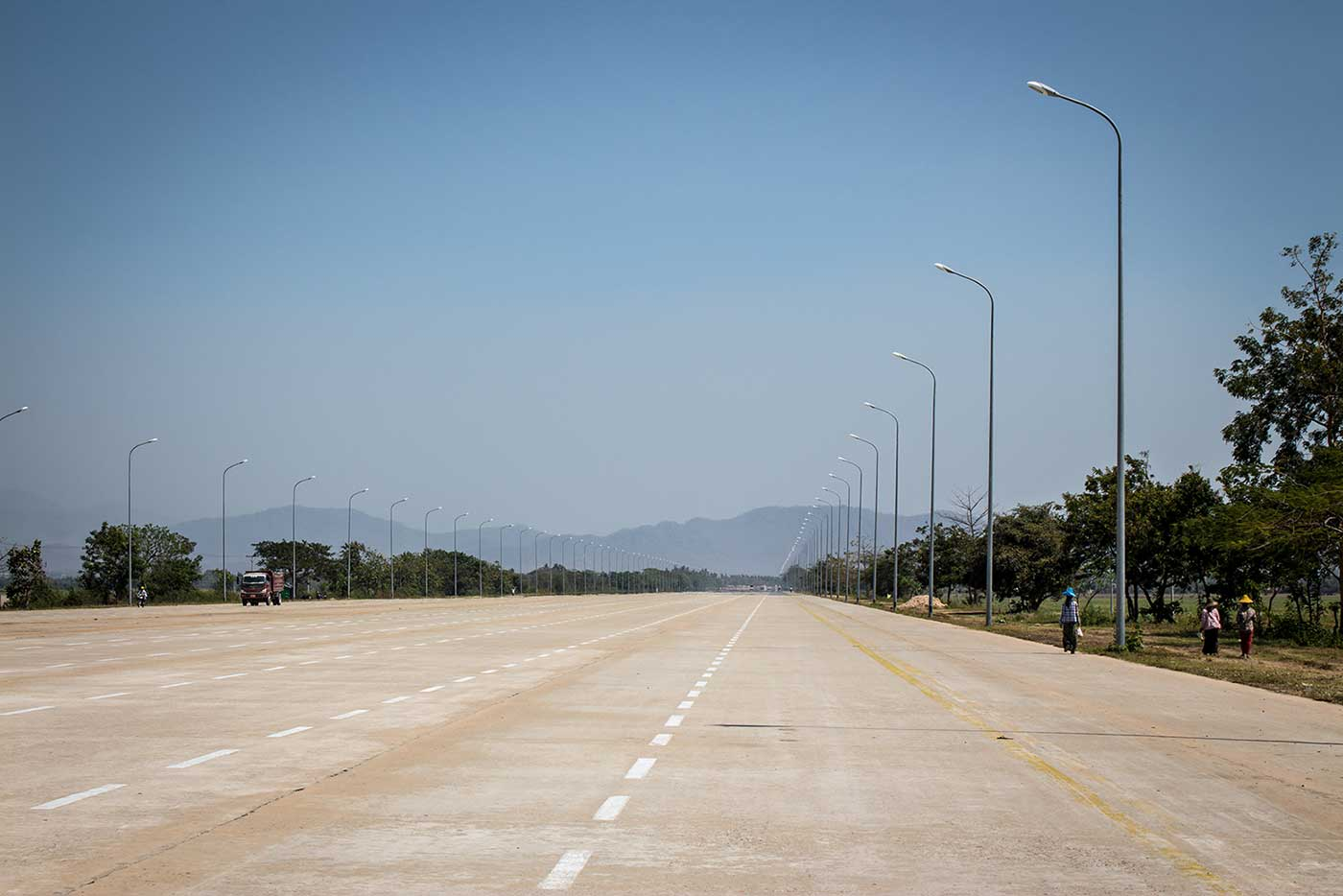 Light traffic on a Naypyidaw highway. Two lanes would have been ample, but here they have 14.