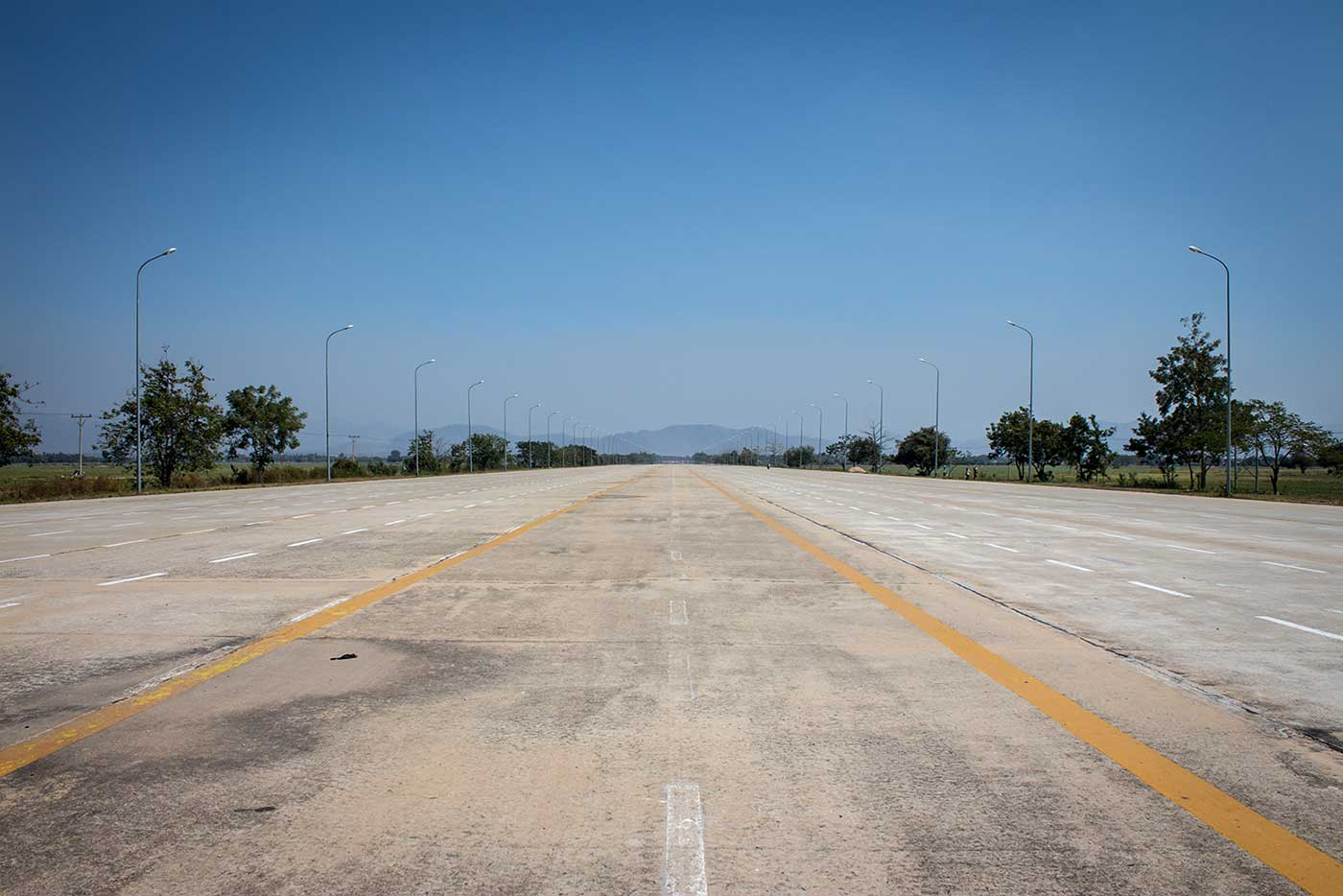 Naypyidaw by Day: an empty 14-lane highway.