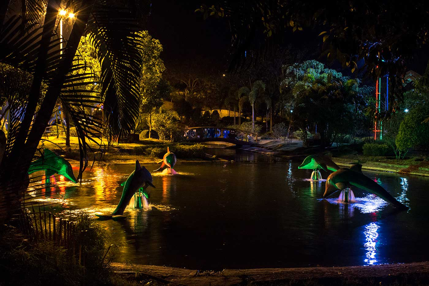 Elsewhere in Naypyidaw's Fountain Park, an illuminated pool filled with dolphin-shaped fountains.