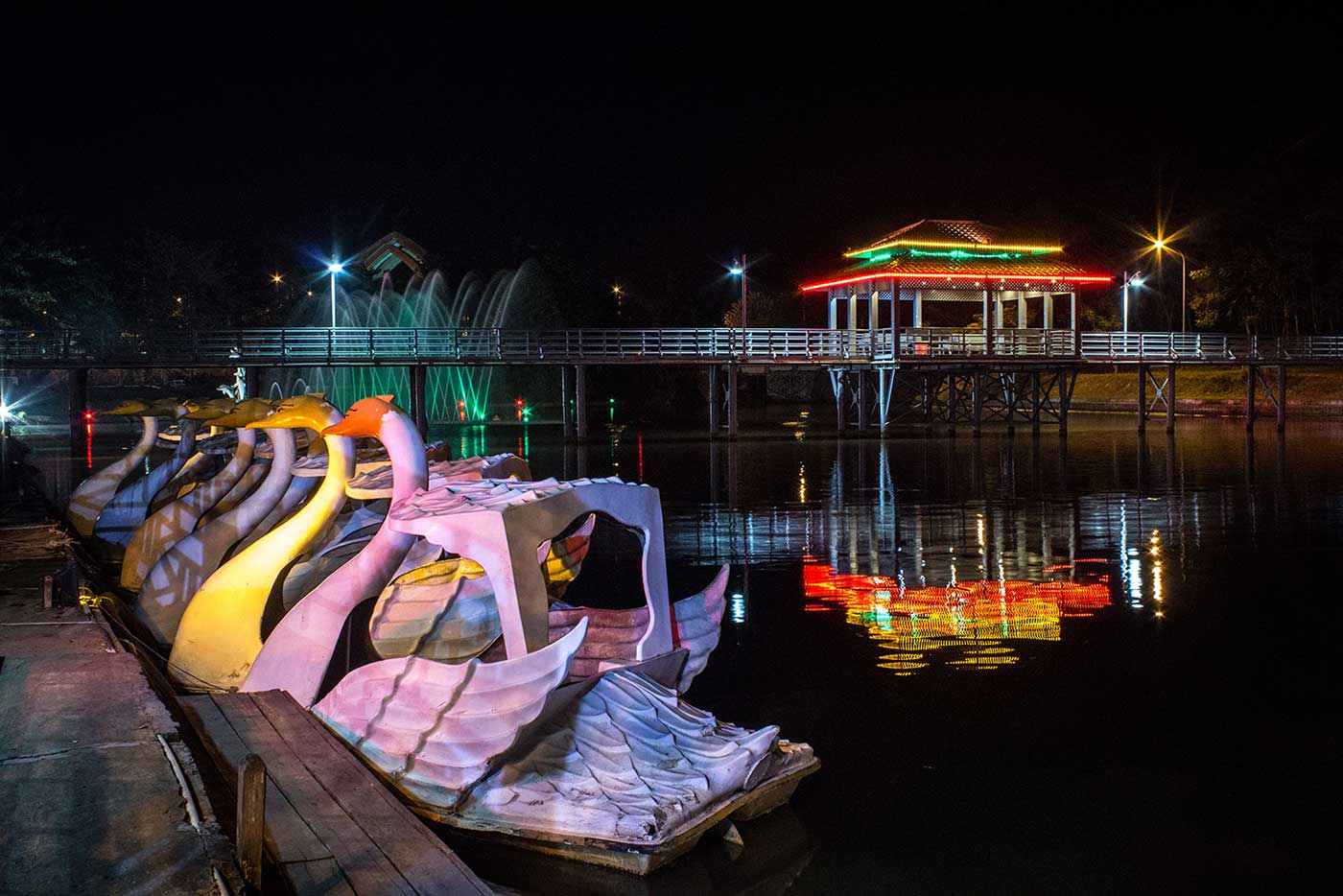Swan boats in Naypyidaw's Fountain Park.