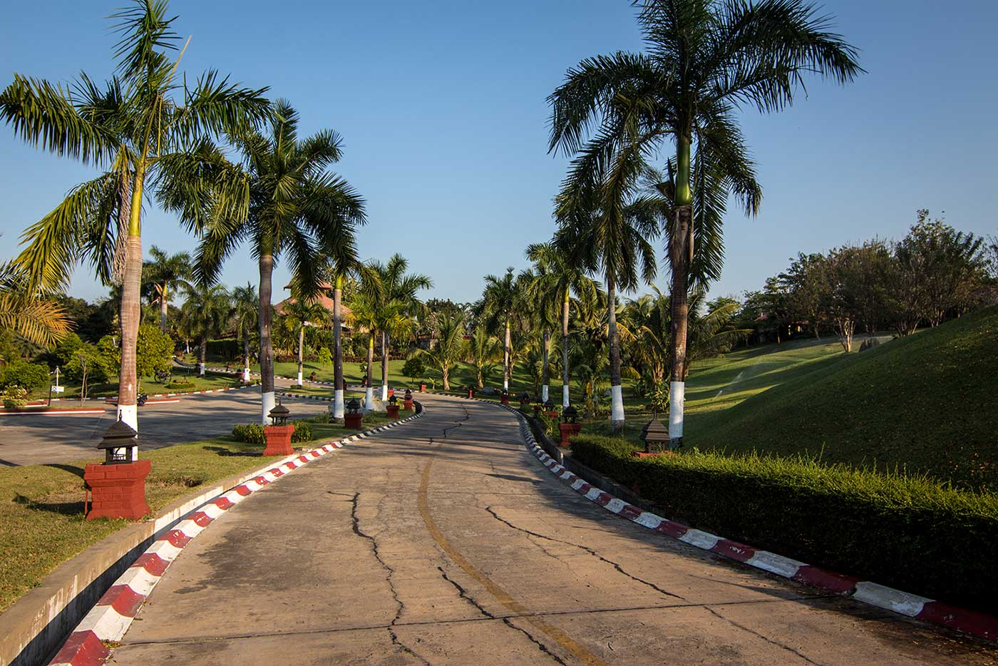 The palm-lined thoroughfares of the Aureum Palace Hotel & Resort. Naypyidaw, Myanmar.
