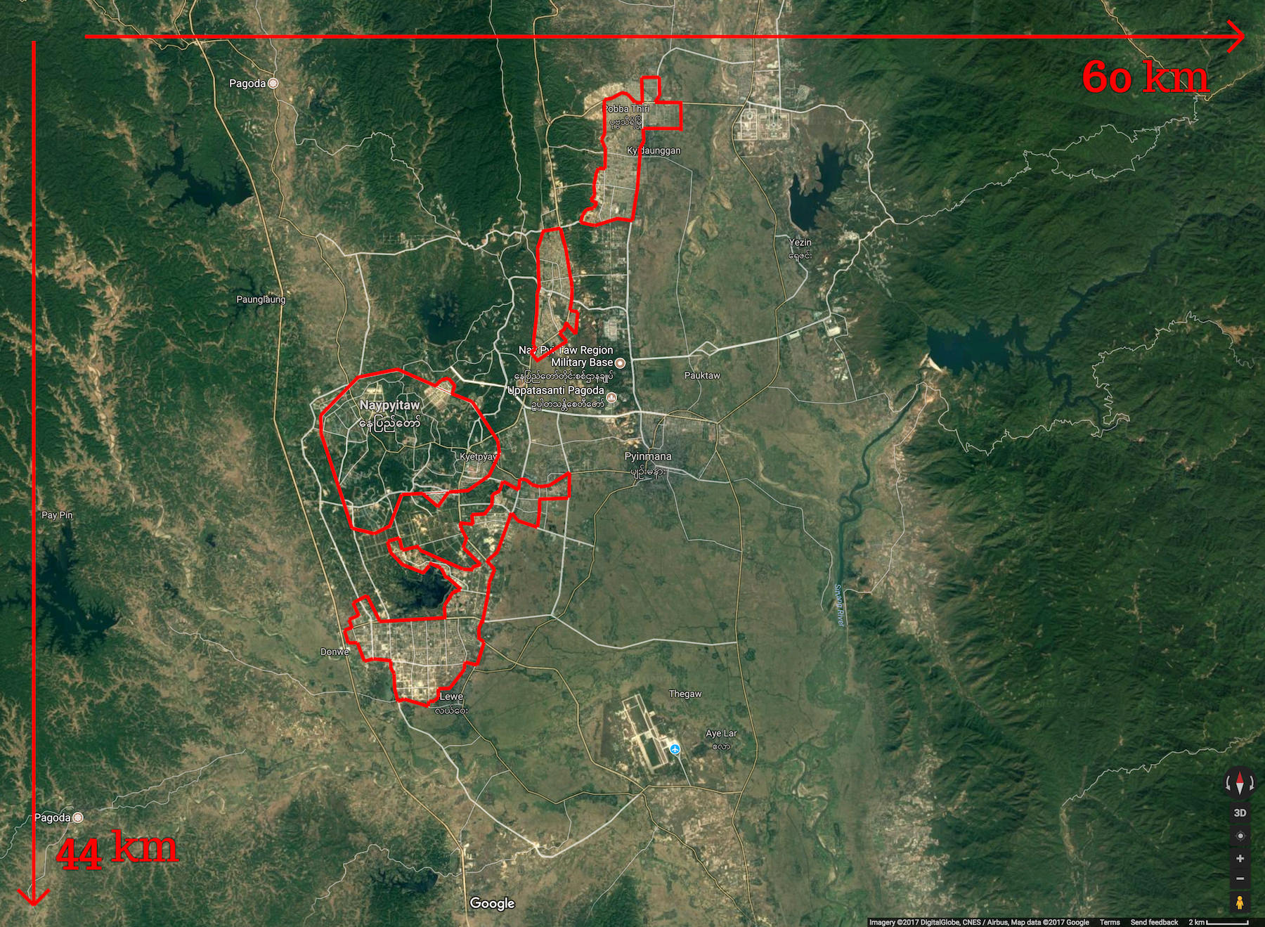 A map showing the true size of Naypyidaw, Myanmar.