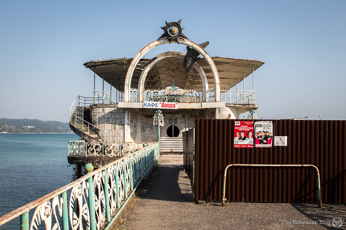 Dolphin and seahorse motifs decorate the 1960s-era recreational pier. Sukhum, Abkhazia.