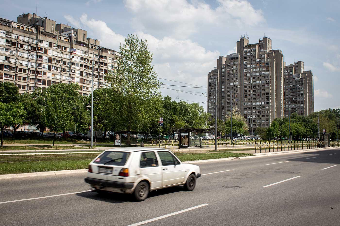 A Brutalist housing complex rises from Blok 23, Novi Beograd.