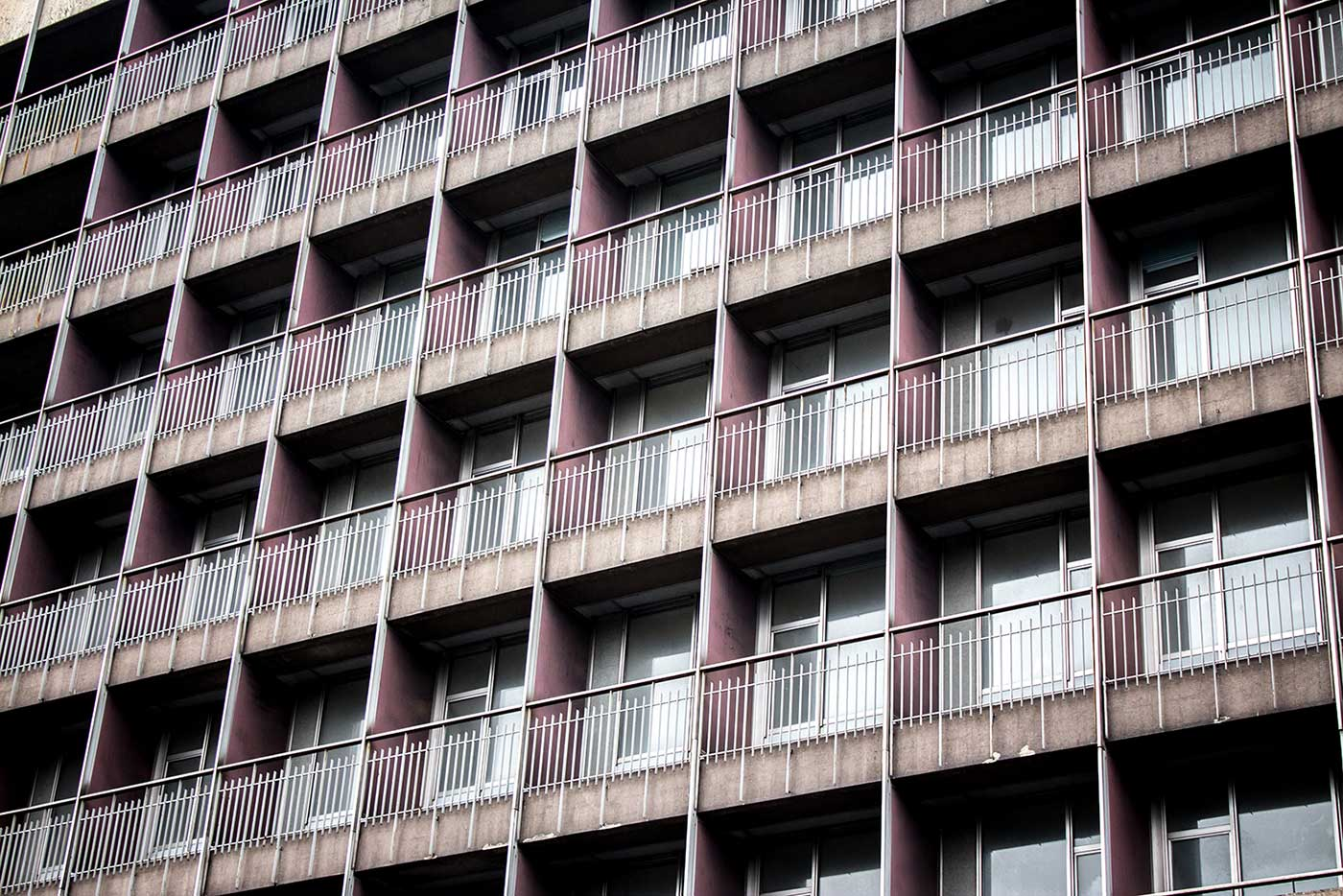 At Hotel Jugoslavija, a wall of balconies look out across Bulevar Nikole Tesle.