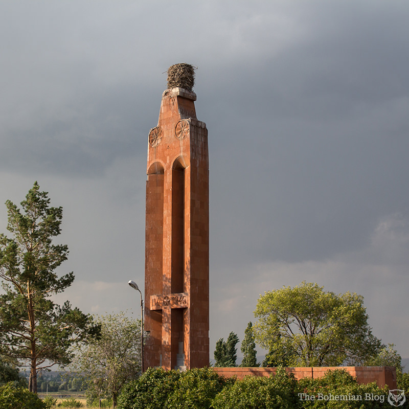 A 1979 Soviet monument to the victims of WWII stands derelict at Getk, Armenia.