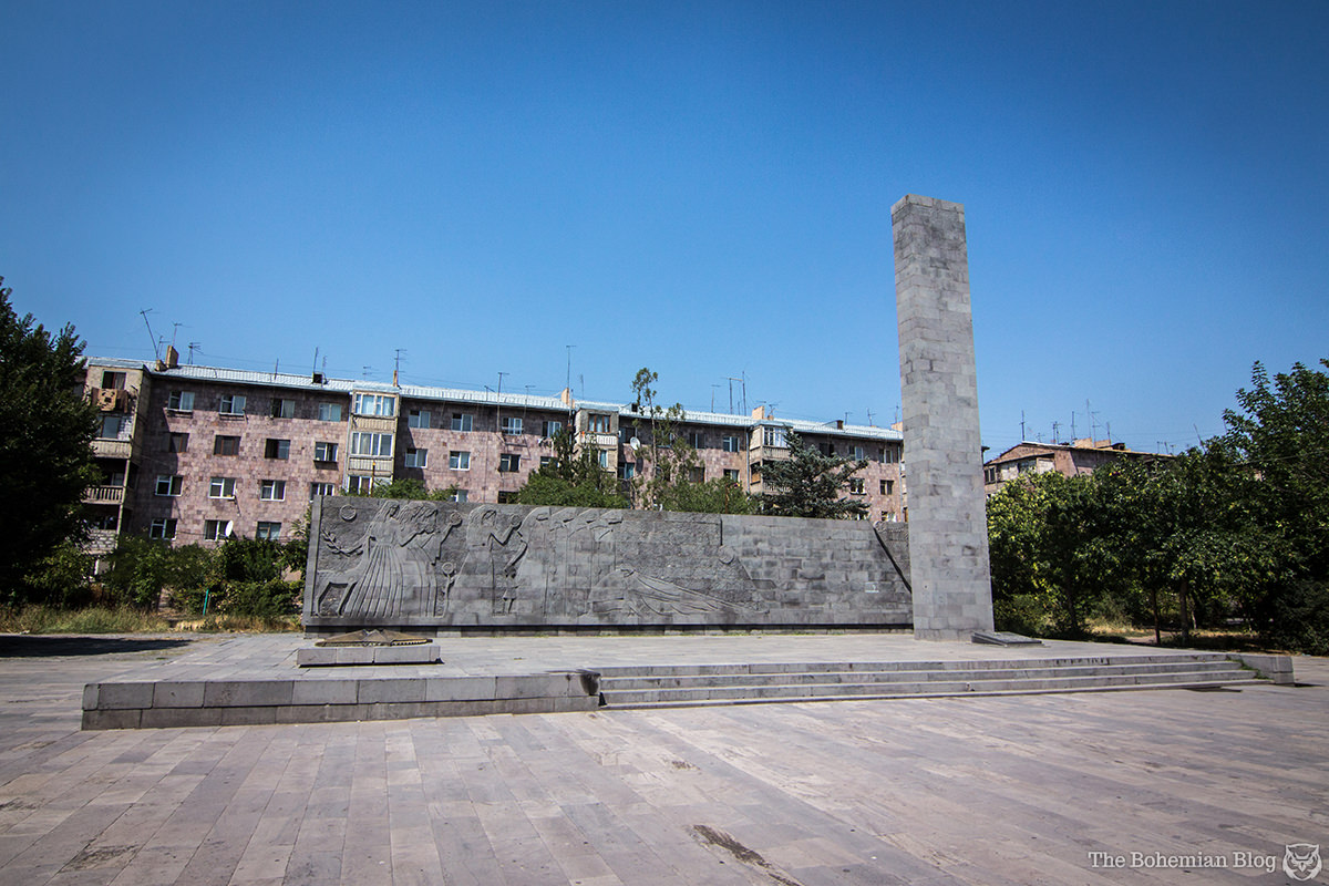Monument to World War II Victims (Architect: Z. Terteryan, Sculptors: D. Simonyan & G. Yeproyan, 1970). Vagharshapat, Armenia.