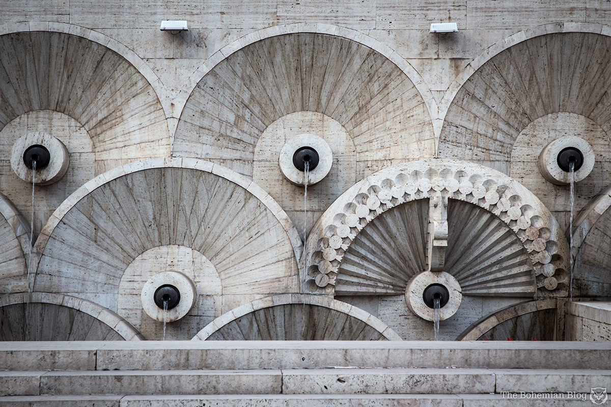 Detail of stylised fountains at the Yerevan Cascade, Armenia.