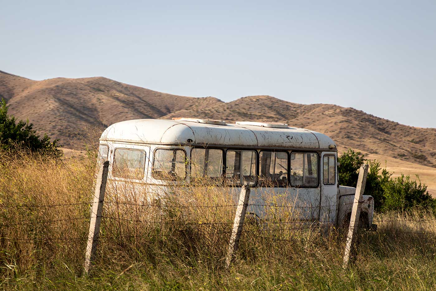 Abandoned bus in Agdam, Nagorno-Karabakh (Artsakh Republic).