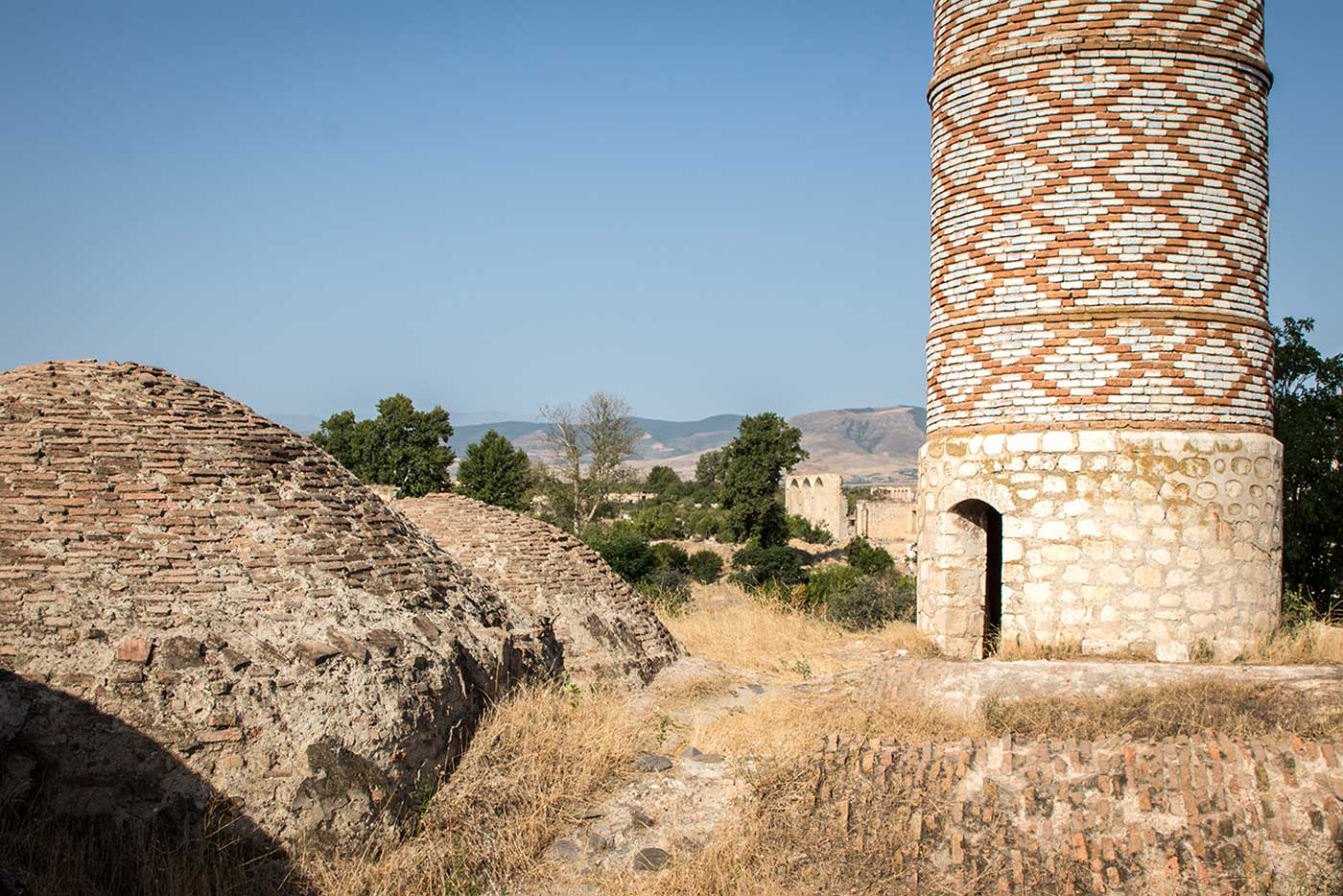 On the mosque's domed roof, an entrance to one of the minarets. Agdam, Nagorno-Karabakh.