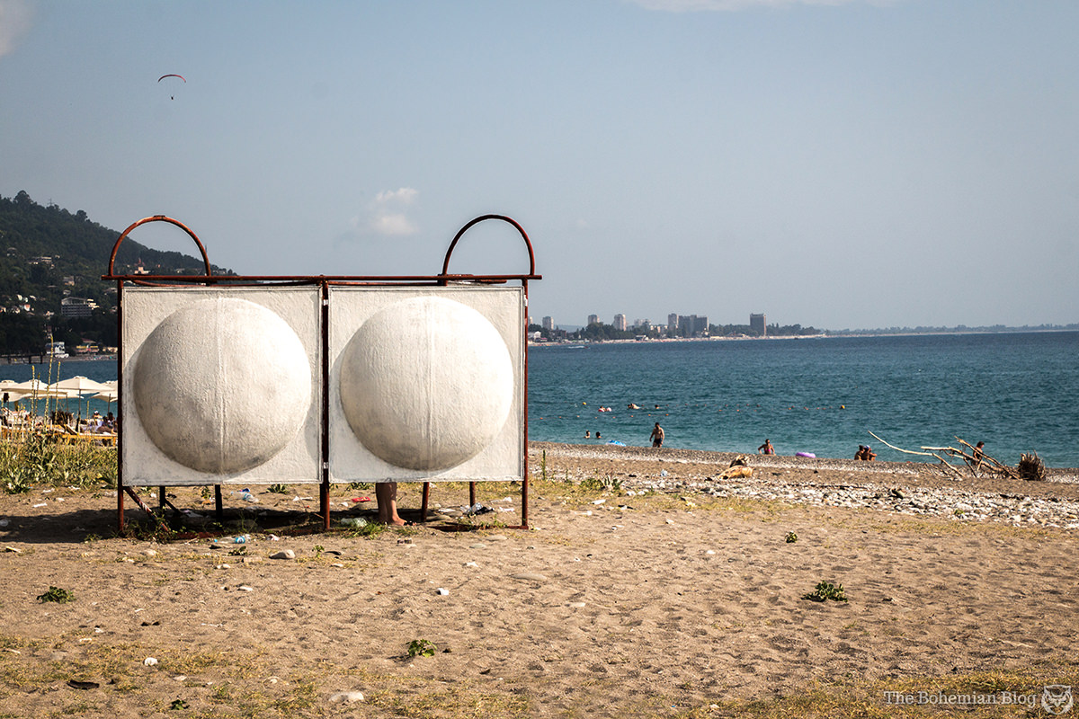 The wonderfully retro changing facilities on Gagra beach. Abkhazia.