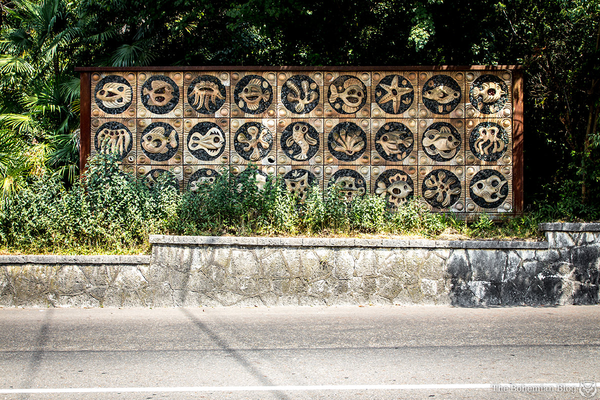 Marine life reliefs decorate a road into Gagra, Abkhazia.