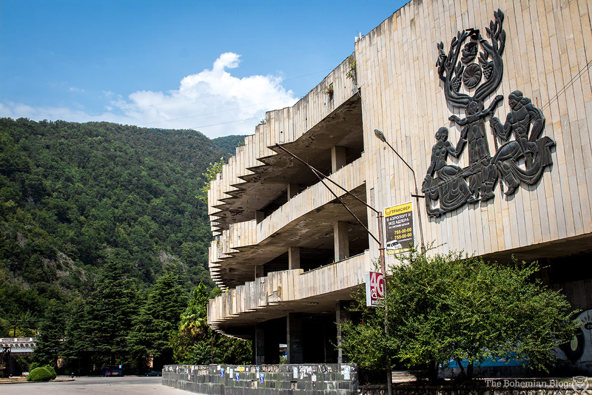 The Gagarin Shopping Centre in Gagra was abandoned after taking severe damage during the 1992-93 War in Abkhazia.