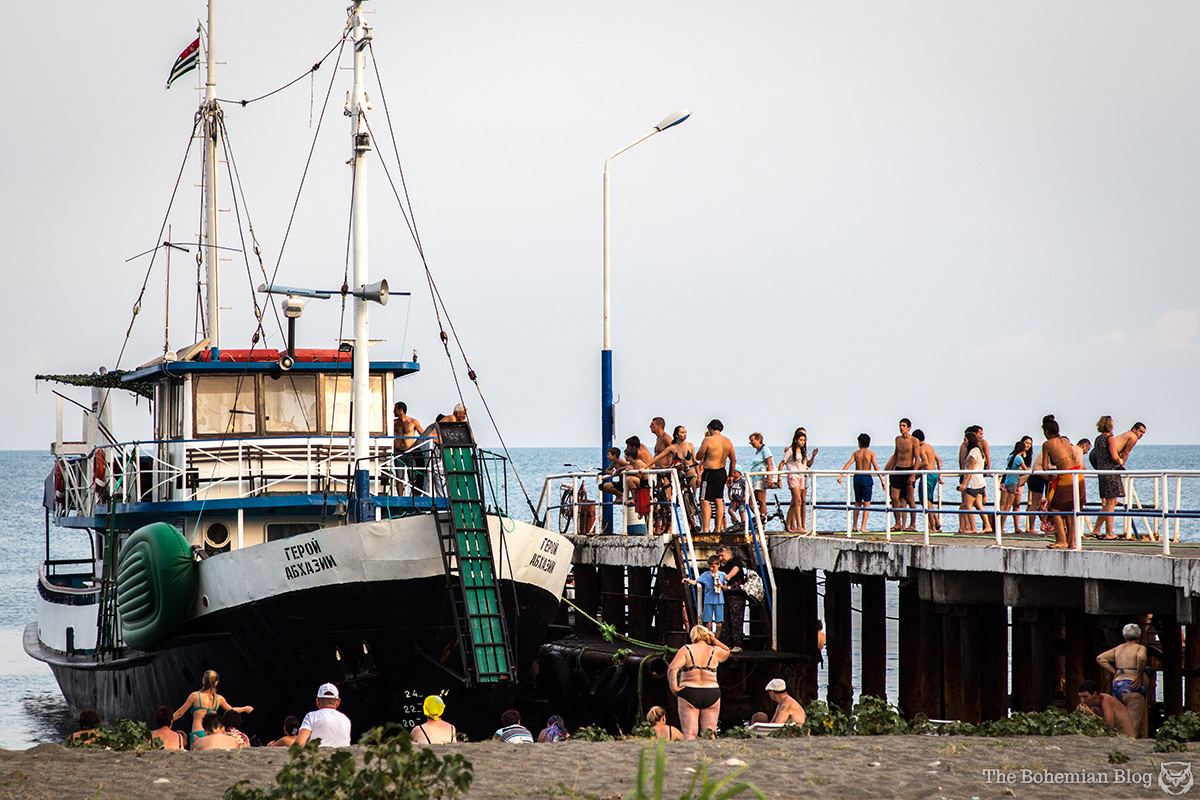 Heroes of Abkhazia, a Black Sea pleasureboat picks up tourists in Pitsunda.