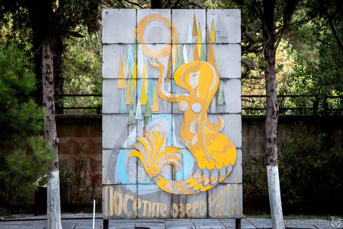 A mermaid sign at the Pitsunda resort advertises tours to nearby Lake Ritsa, Abkhazia.