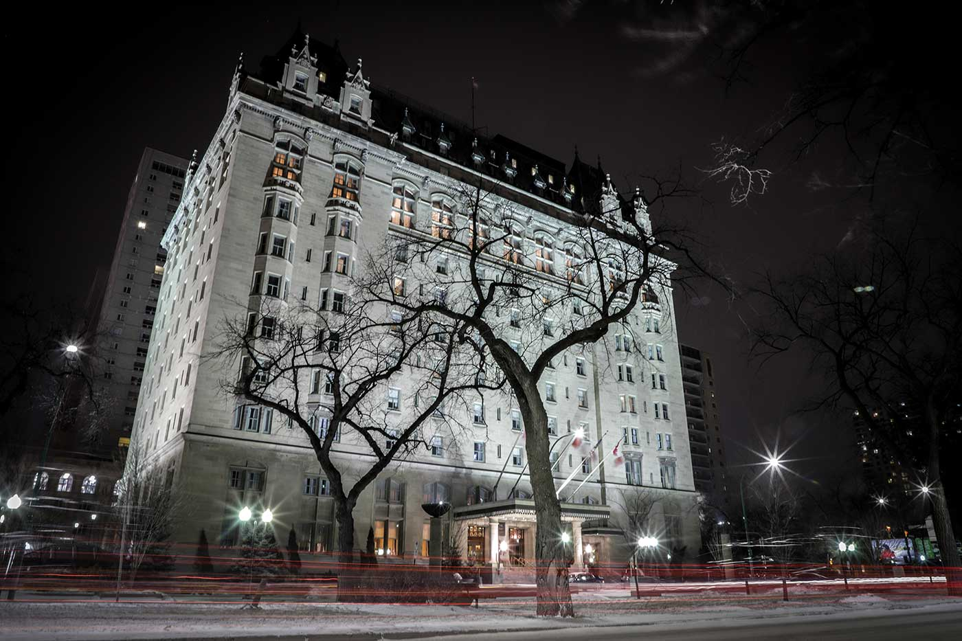 Fort Garry Hotel at night. Winnipeg, Canada.