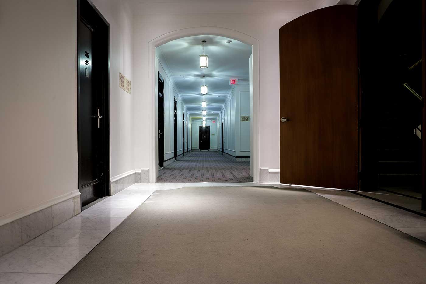 Exploring the corridors of Winnipeg's Fort Garry Hotel.