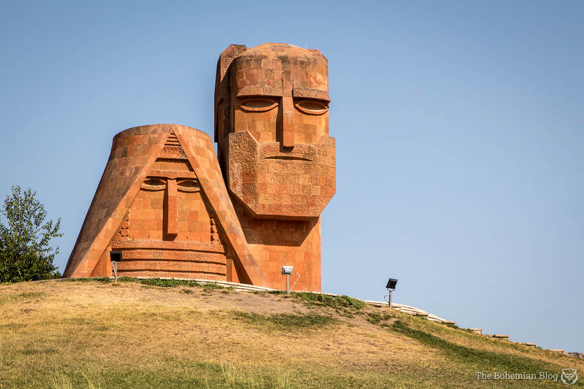 We Are Our Mountains: a monumental sculpture by Sargis Baghdasaryan (1967) that celebrates Armenian heritage and identity. Nagorno-Karabakh.