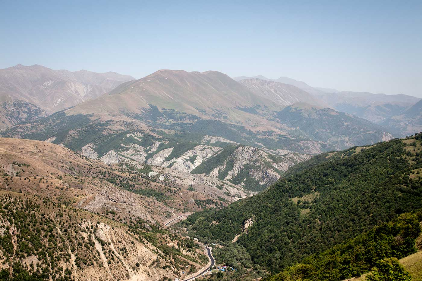 The first view of Nagorno-Karabakh, as the road emerges from the mountain pass from Armenia.