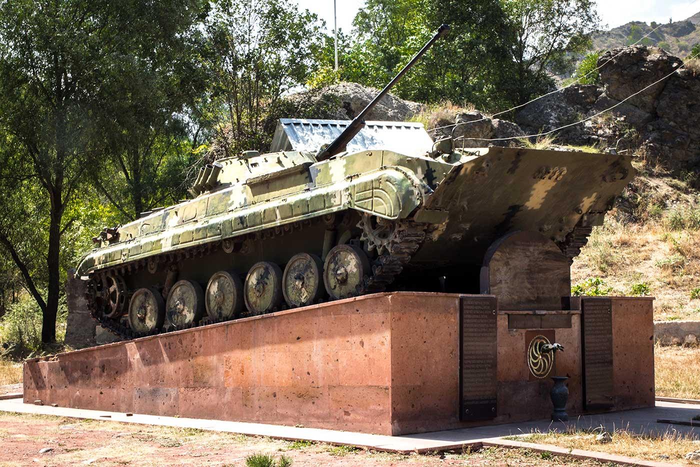 Abandoned tank memorial in Nagorno-Karabakh.