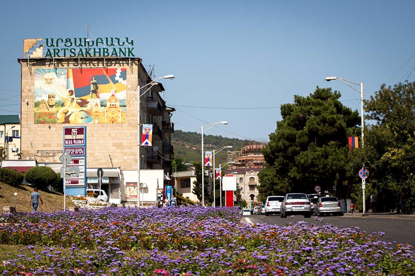 A main street in downtown Stepanakert, Nagorno-Karabakh.