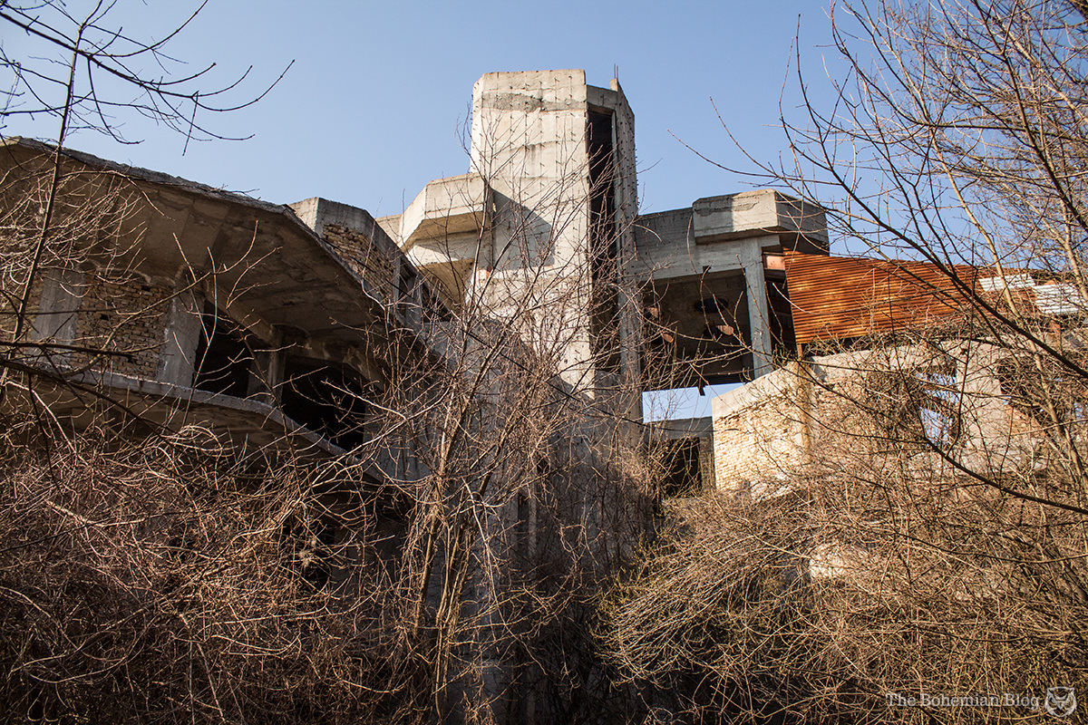 This unfinished modernist villa in a forest near Shumen is alleged to have been a new residence for the communist leader Todor Zhivkov. Shumen, Bulgaria.