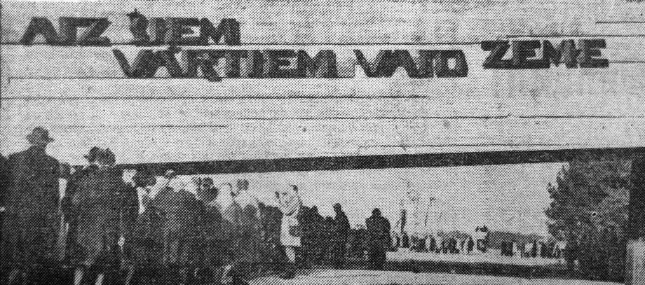 Visitors queue to enter (late 1960s). Salaspils Memorial, Latvia.