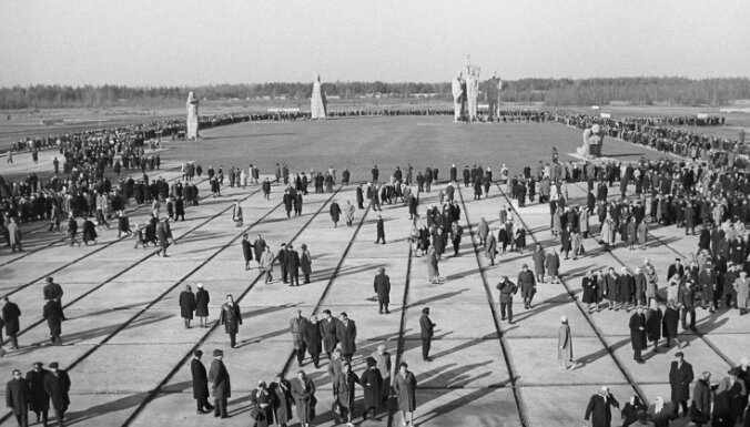 The memorial plaza at Salaspils (1968). Salaspils Memorial, Latvia.