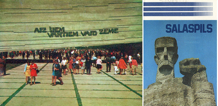 Left: Salaspils in 1975. Right: Cover of the 1985 Salaspils brochure. Salaspils Memorial, Latvia.