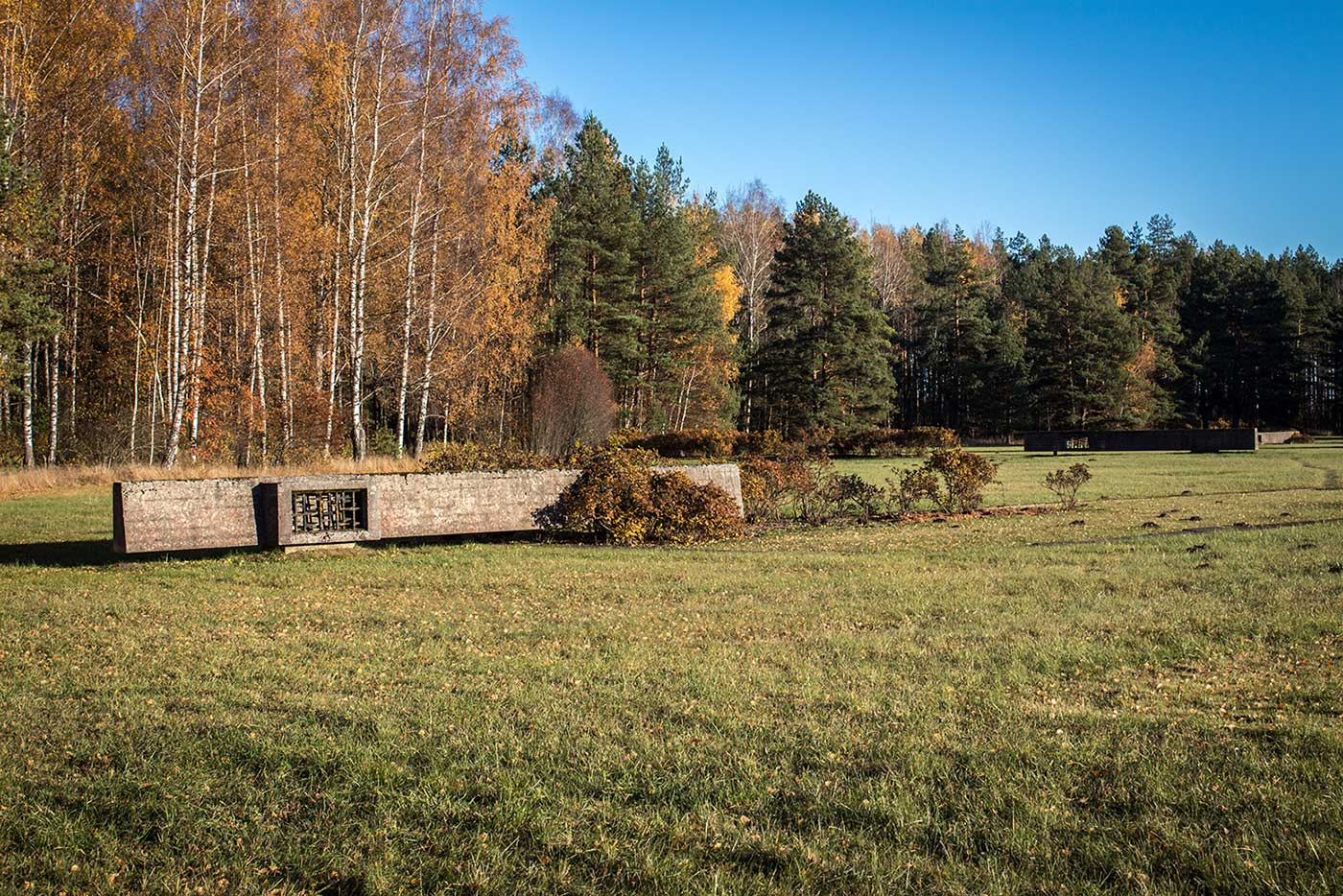 Fragments of the original barrack walls. Salaspils Memorial, Latvia.