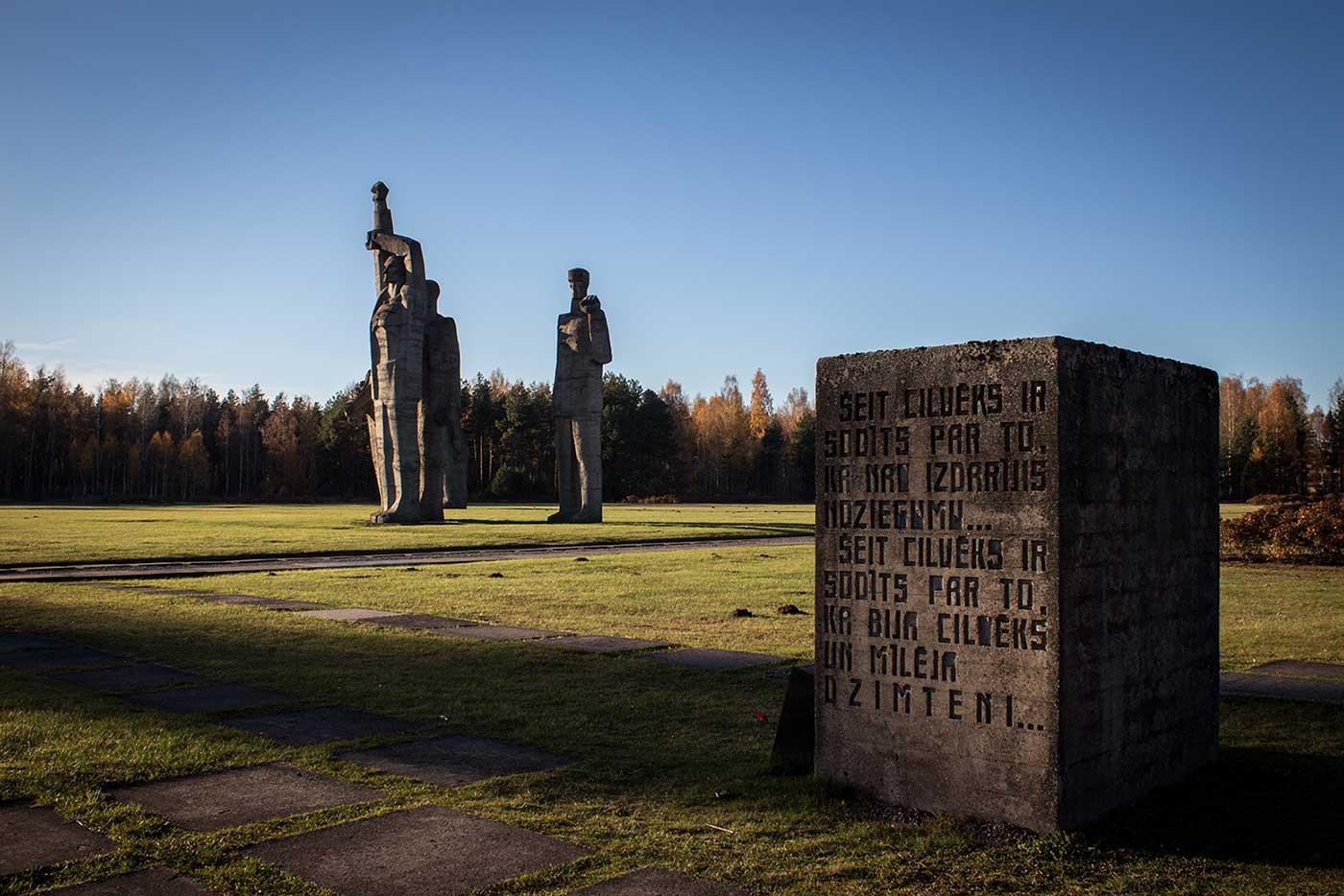 A memorial block where the camp's gallows once stood. Salaspils Memorial, Latvia.
