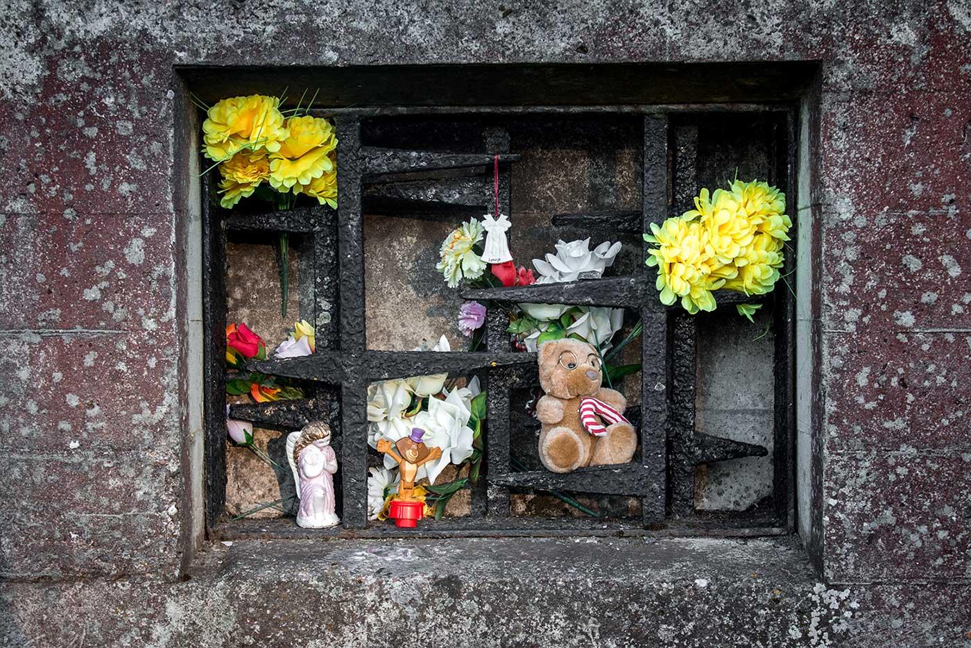 Tributes left by visitors. Salaspils Memorial, Latvia.