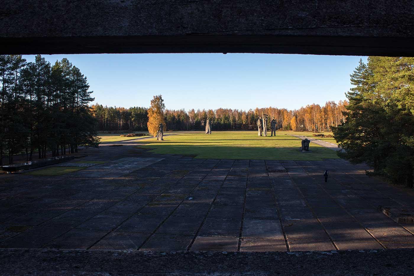 The Salaspils Memorial Ensemble, seen from the gallery. Salaspils Memorial, Latvia.