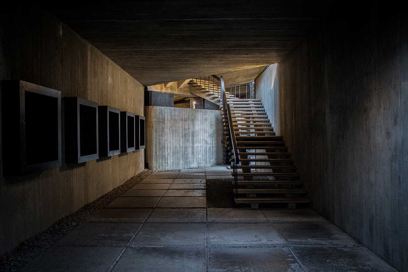 The main gallery space inside the visitors' building. Salaspils Memorial, Latvia.