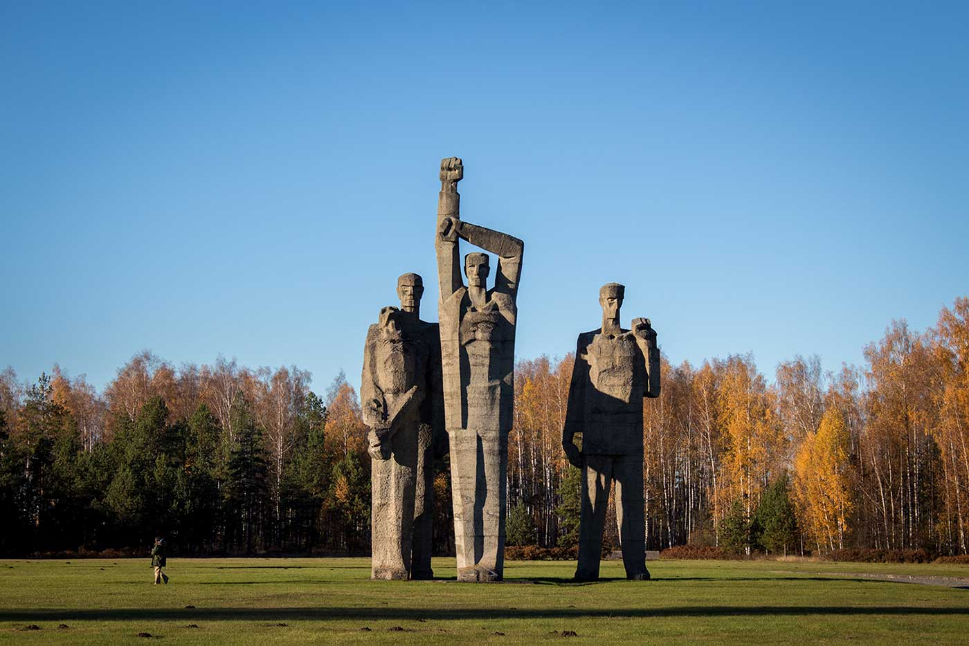 From left to right: 'Solidarity,' 'The Oath' and 'Red Front.' Salaspils Memorial, Latvia.