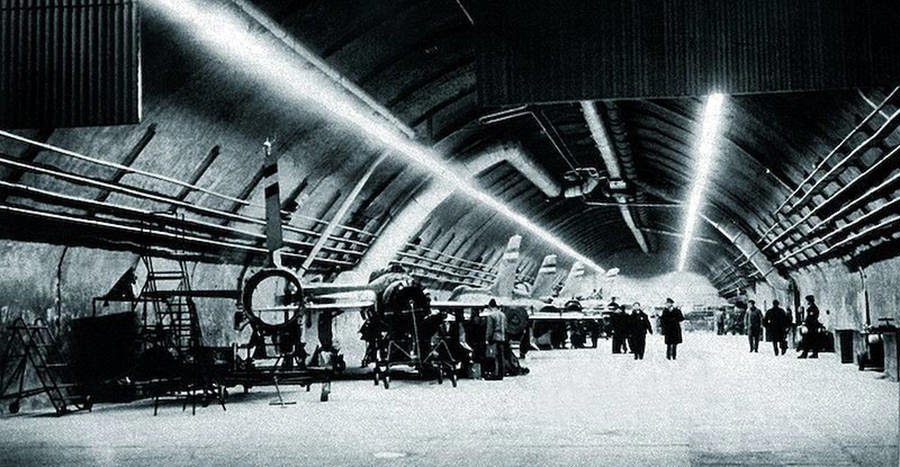 Aircraft maintenance inside Željava Airbase, 1970s.