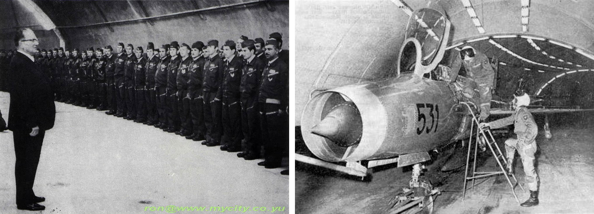 Left: President Tito addresses pilots inside the KLEK facility during a visit in 1969. Right: MiG-21 inside Entrance 1, 1970s.