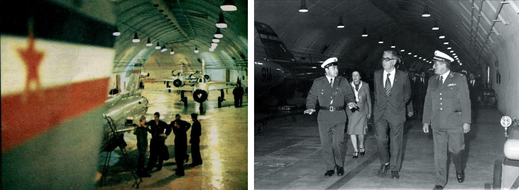 Left: The MiG-21bis aircraft of the 125th Fighter Aviation Squadron. Right: Jakov Blažević (president of the Executive Council of the People's Republic of Croatia) and Milka Planinc (who would later serve as prime minister of Yugoslavia from 1982-1986) on a visit to Željava in the 1970s.