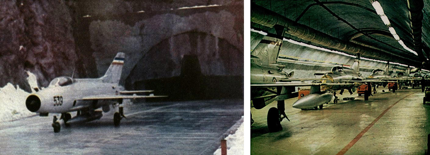 Left: An aircraft leaves the complex via Entrance 1. Right: The 352nd Reconnaissance Squadron in its gallery at Željava Airbase.