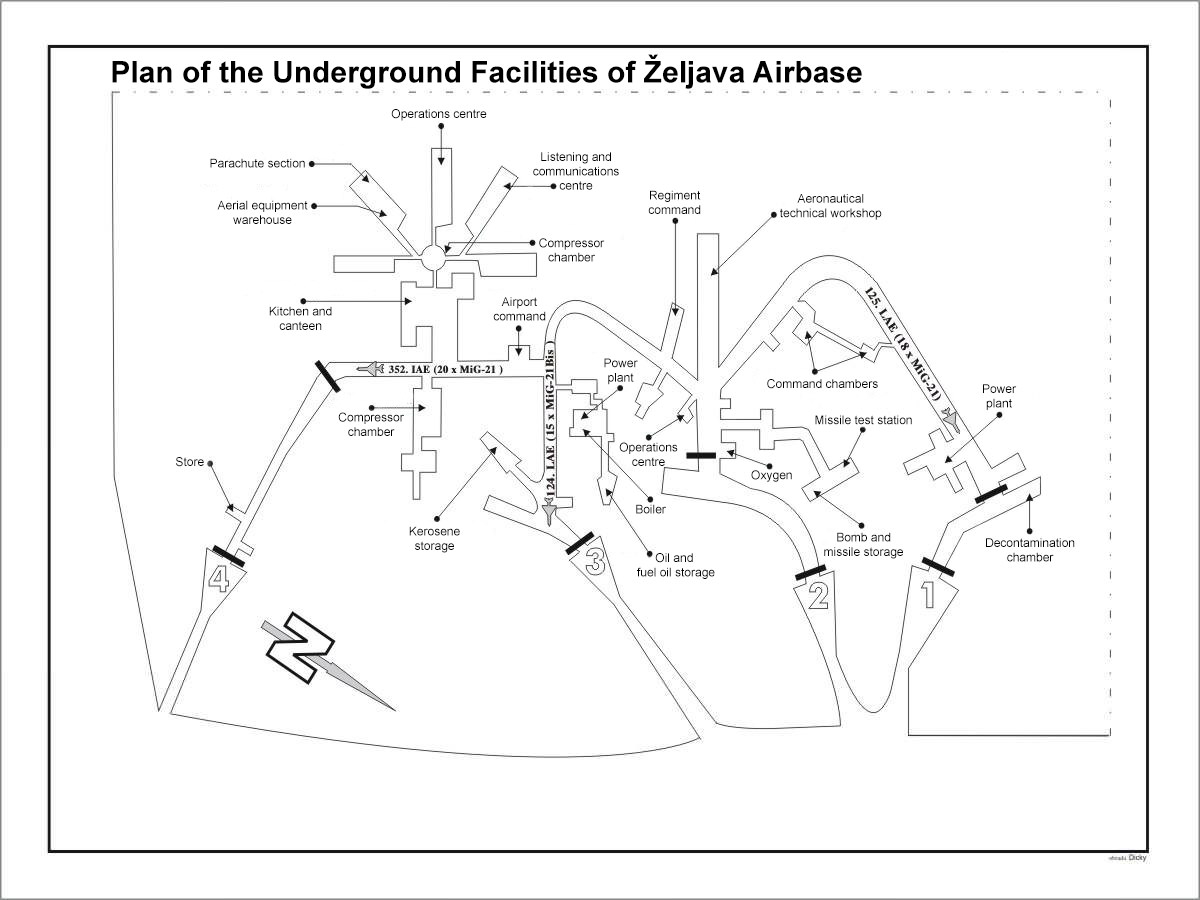 Map of the underground facilities of Željava Airbase, Croatia.